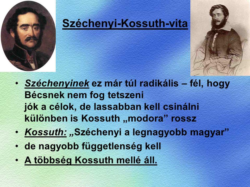 Széchenyi-Kossuth-vita Széchenyinek ez már túl radikális – fél, hogy Bécsnek nem fog tetszeni jók a célok, de lassabban kell csinálni különben is Koss