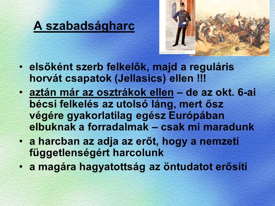 A szabadságharc elsőként szerb felkelők, majd a reguláris horvát csapatok (Jellasics) ellen !!! aztán már az osztrákok ellen – de az okt. 6-ai bécsi f