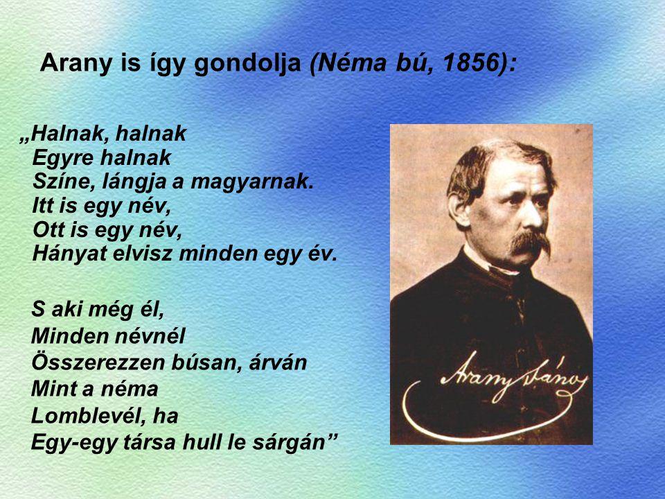"""Arany is így gondolja (Néma bú, 1856): """"Halnak, halnak Egyre halnak Színe, lángja a magyarnak. Itt is egy név, Ott is egy név, Hányat elvisz minden eg"""