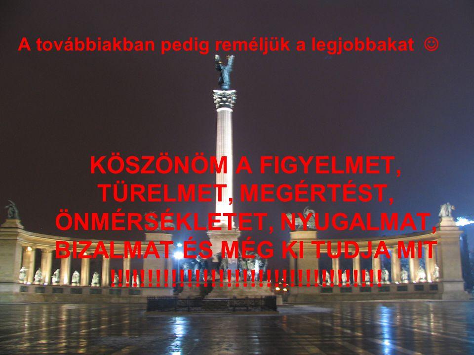A továbbiakban pedig reméljük a legjobbakat KÖSZÖNÖM A FIGYELMET, TÜRELMET, MEGÉRTÉST, ÖNMÉRSÉKLETET, NYUGALMAT, BIZALMAT ÉS MÉG KI TUDJA MIT !!!!!!!!