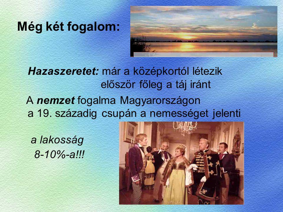 …és programja: 1830: Hitel a gazdasági fejlődés legfőbb gátja a tőkehiány A mezőgazdaság piacképességéhez el kell törölni az ősiség törvényét Mindenben meg kell szüntetni a feudális viszonyokat Fejleszteni kell a mezőgazdaságot és az ipart Ehhez megfelelő közlekedés is szükséges DE: mindezt a Habsburg-birodalom keretein belül !.