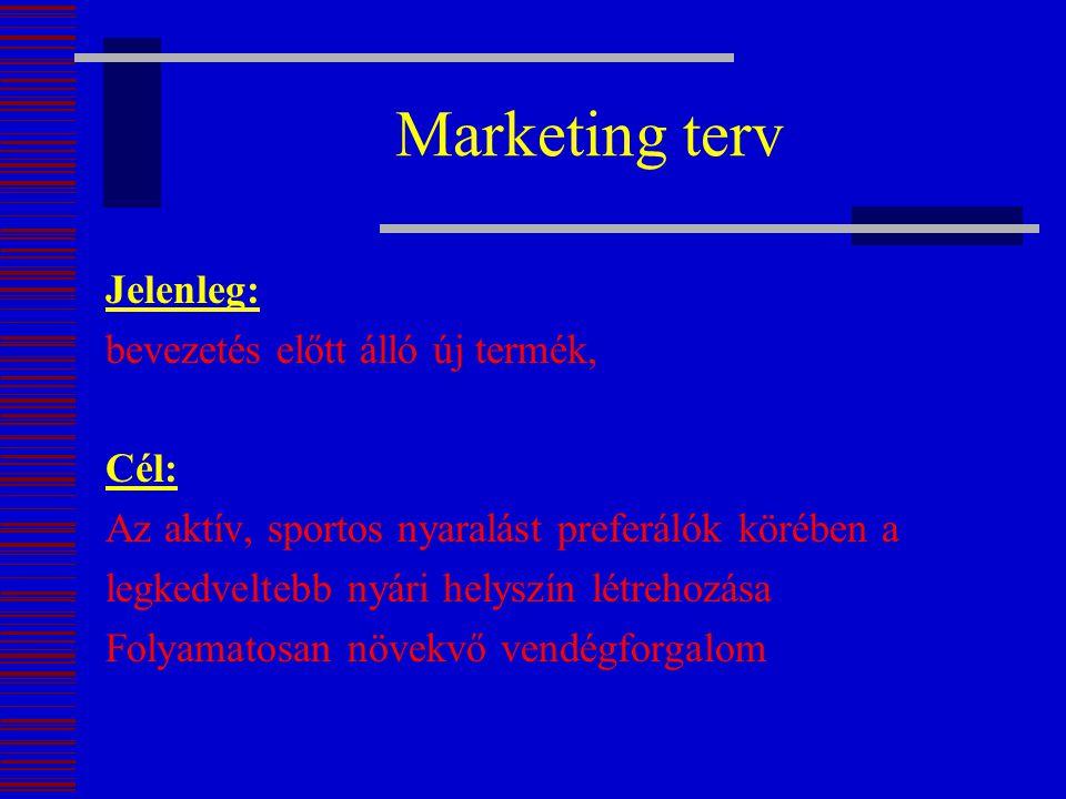Marketing terv Jelenleg: bevezetés előtt álló új termék, Cél: Az aktív, sportos nyaralást preferálók körében a legkedveltebb nyári helyszín létrehozás