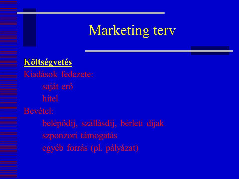 Marketing terv Költségvetés Kiadások fedezete: saját erő hitel Bevétel: belépődíj, szállásdíj, bérleti díjak szponzori támogatás egyéb forrás (pl. pál