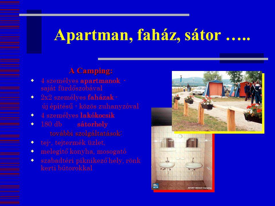 Apartman, faház, sátor ….. A Camping: A Camping:  4 személyes apartmanok - saját fürdőszobával  2x2 személyes faházak - új építésű - közös zuhanyzóv