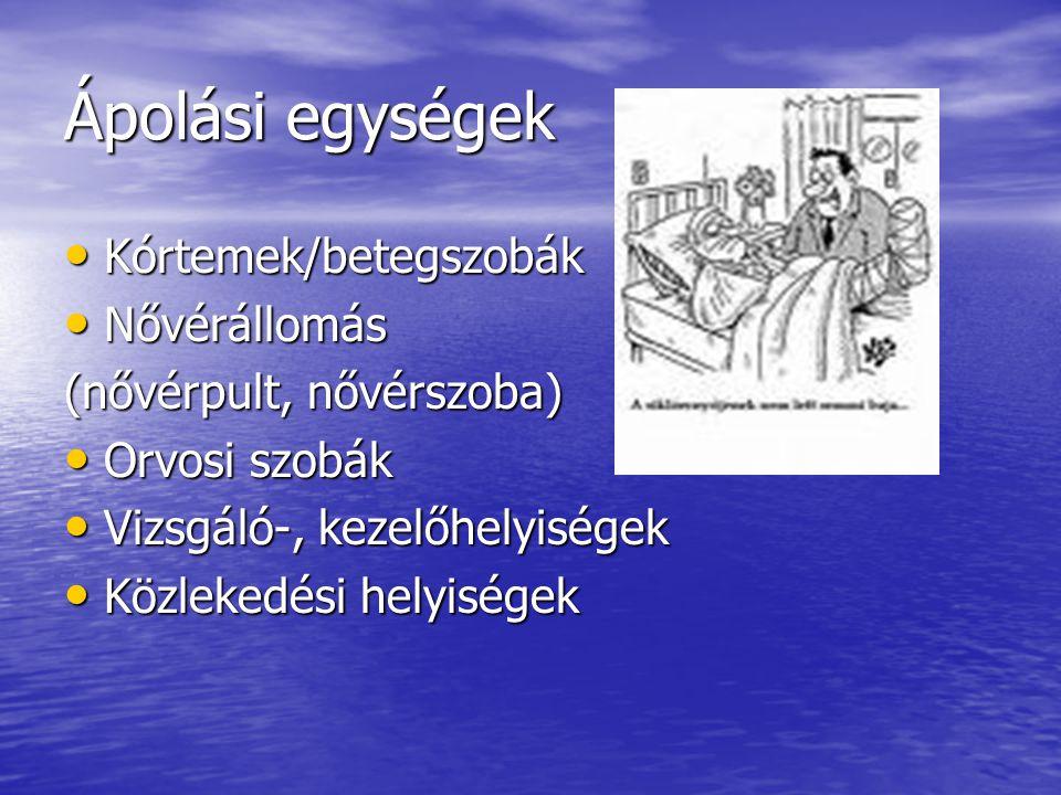 Ápolási egységek Kórtemek/betegszobák Kórtemek/betegszobák Nővérállomás Nővérállomás (nővérpult, nővérszoba) Orvosi szobák Orvosi szobák Vizsgáló-, ke