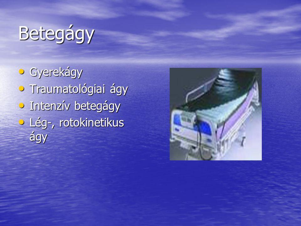 Betegágy Gyerekágy Gyerekágy Traumatológiai ágy Traumatológiai ágy Intenzív betegágy Intenzív betegágy Lég-, rotokinetikus ágy Lég-, rotokinetikus ágy