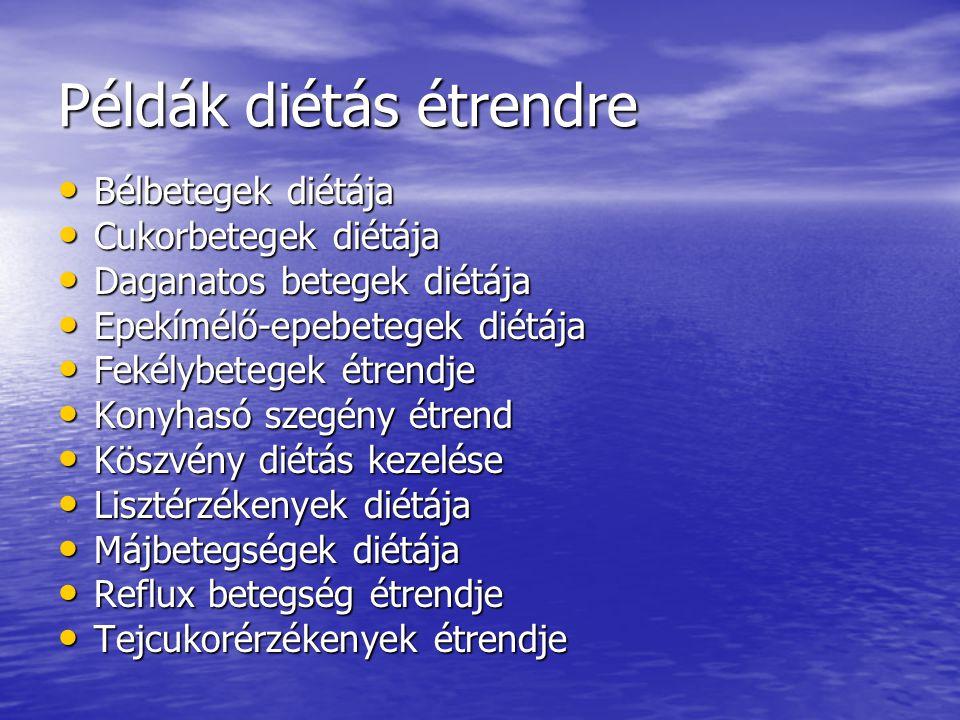 Példák diétás étrendre Bélbetegek diétája Bélbetegek diétája Cukorbetegek diétája Cukorbetegek diétája Daganatos betegek diétája Daganatos betegek dié
