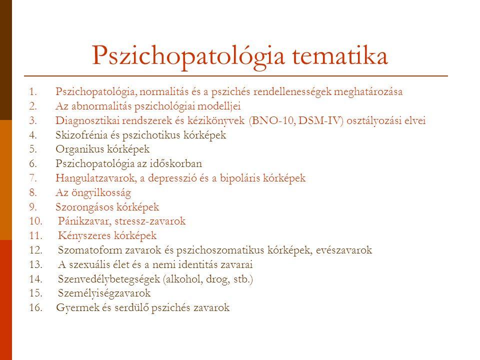A mai előadás témái Normalitás és pszichés rendellenességek meghatározása Pszichopatológiai modellek Diagnosztikai rendszerek és kézikönyvek (BNO 10, DSM IV) osztályozási elvei