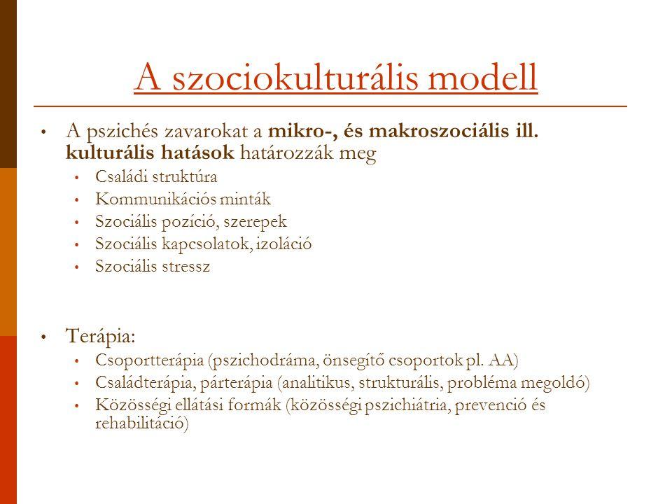 A szociokulturális modell A pszichés zavarokat a mikro-, és makroszociális ill.