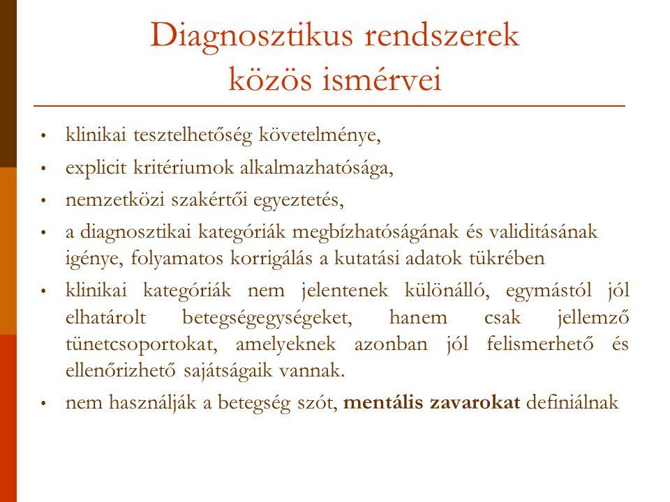 Diagnosztikus rendszerek közös ismérvei klinikai tesztelhetőség követelménye, explicit kritériumok alkalmazhatósága, nemzetközi szakértői egyeztetés, a diagnosztikai kategóriák megbízhatóságának és validitásának igénye, folyamatos korrigálás a kutatási adatok tükrében klinikai kategóriák nem jelentenek különálló, egymástól jól elhatárolt betegségegységeket, hanem csak jellemző tünetcsoportokat, amelyeknek azonban jól felismerhető és ellenőrizhető sajátságaik vannak.