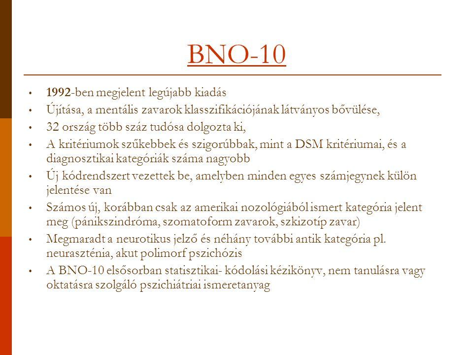 BNO-10 1992-ben megjelent legújabb kiadás Újítása, a mentális zavarok klasszifikációjának látványos bővülése, 32 ország több száz tudósa dolgozta ki, A kritériumok szűkebbek és szigorúbbak, mint a DSM kritériumai, és a diagnosztikai kategóriák száma nagyobb Új kódrendszert vezettek be, amelyben minden egyes számjegynek külön jelentése van Számos új, korábban csak az amerikai nozológiából ismert kategória jelent meg (pánikszindróma, szomatoform zavarok, szkizotíp zavar) Megmaradt a neurotikus jelző és néhány további antik kategória pl.
