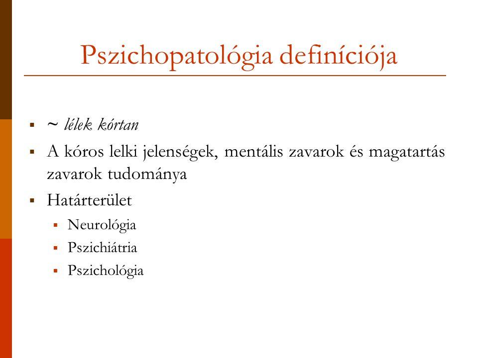 Pszichopatológia definíciója  ~ lélek kórtan  A kóros lelki jelenségek, mentális zavarok és magatartás zavarok tudománya  Határterület  Neurológia  Pszichiátria  Pszichológia