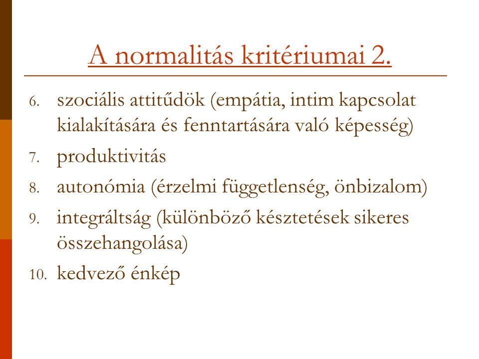A normalitás kritériumai 2.6.