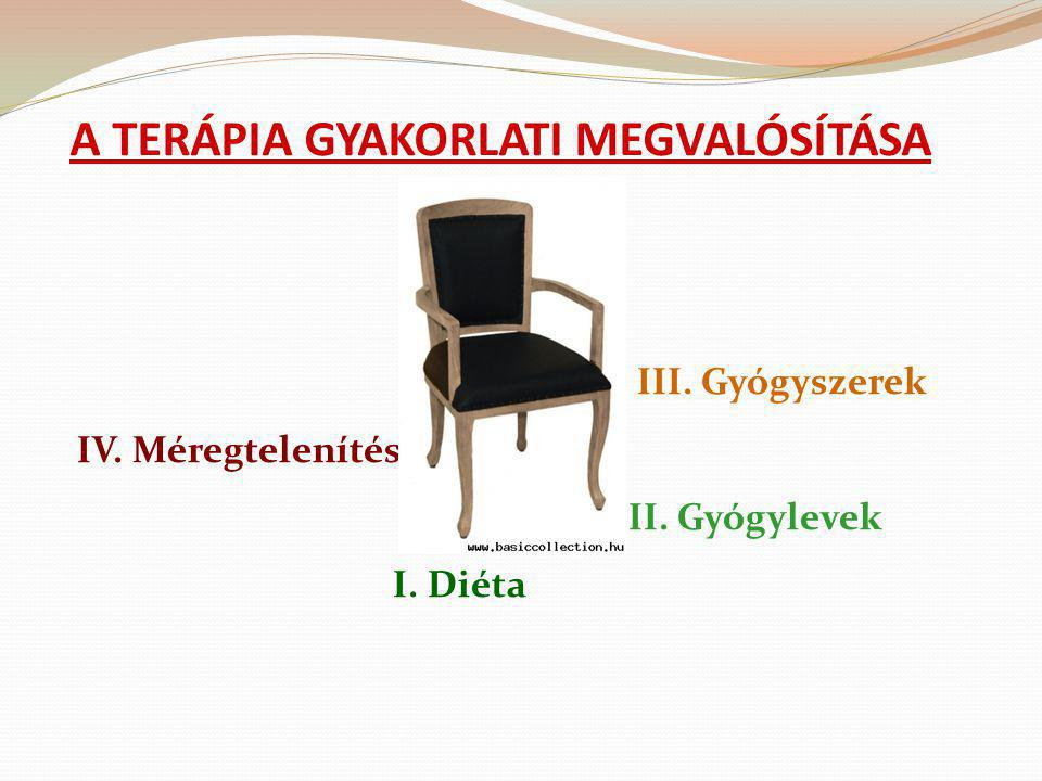 A TERÁPIA GYAKORLATI MEGVALÓSÍTÁSA III. Gyógyszerek IV. Méregtelenítés II. Gyógylevek I. Diéta