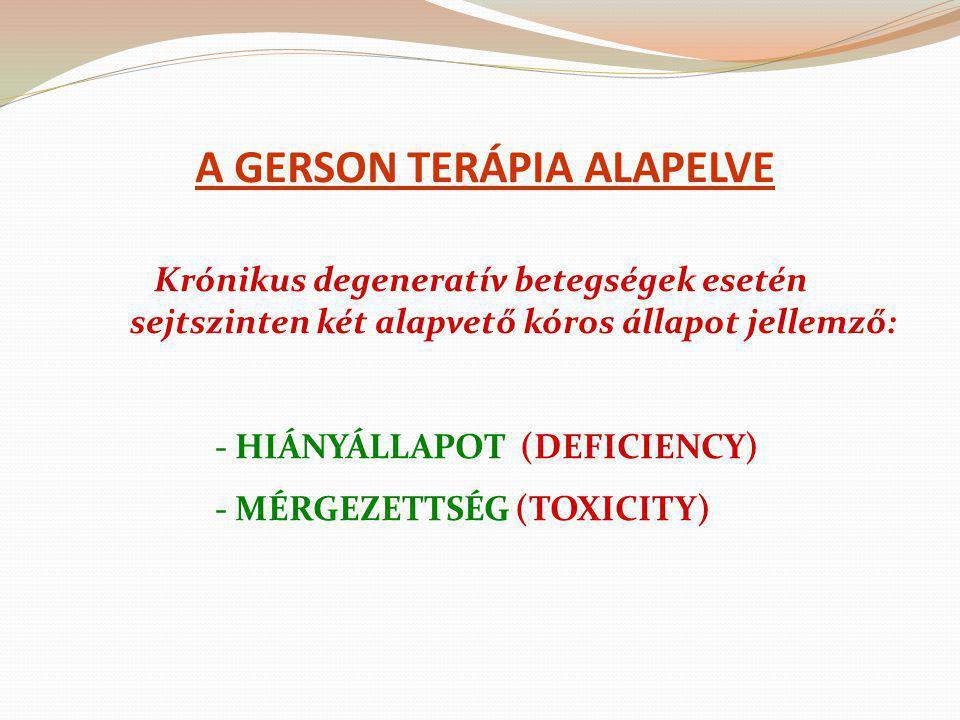A GERSON TERÁPIA ALAPELVE Krónikus degeneratív betegségek esetén sejtszinten két alapvető kóros állapot jellemző: - HIÁNYÁLLAPOT (DEFICIENCY) - MÉRGEZ