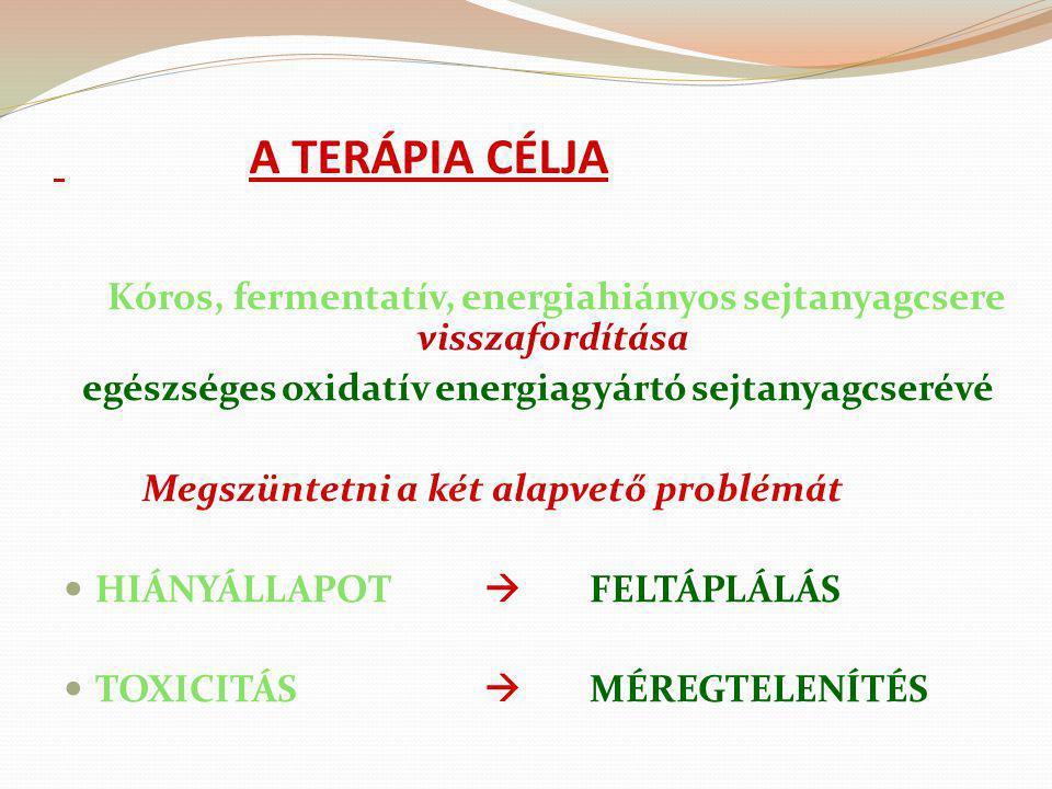 A TERÁPIA CÉLJA Kóros, fermentatív, energiahiányos sejtanyagcsere visszafordítása egészséges oxidatív energiagyártó sejtanyagcserévé Megszüntetni a ké
