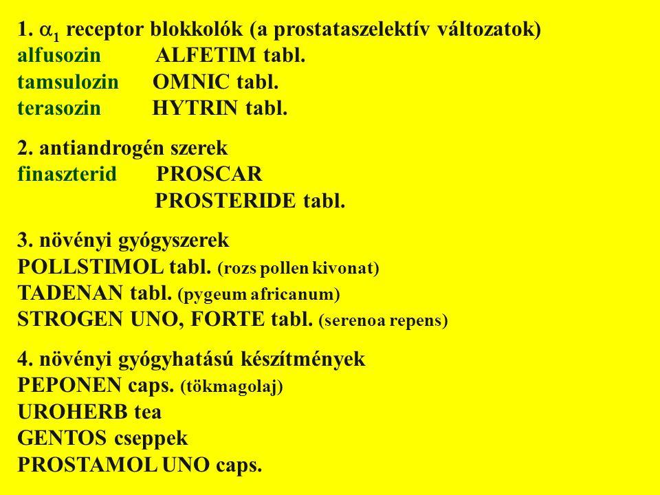 1.  1 receptor blokkolók (a prostataszelektív változatok) alfusozin ALFETIM tabl. tamsulozin OMNIC tabl. terasozin HYTRIN tabl. 2. antiandrogén szere