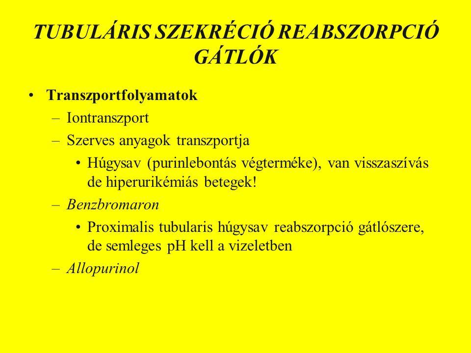 TUBULÁRIS SZEKRÉCIÓ REABSZORPCIÓ GÁTLÓK Transzportfolyamatok –Iontranszport –Szerves anyagok transzportja Húgysav (purinlebontás végterméke), van visszaszívás de hiperurikémiás betegek.