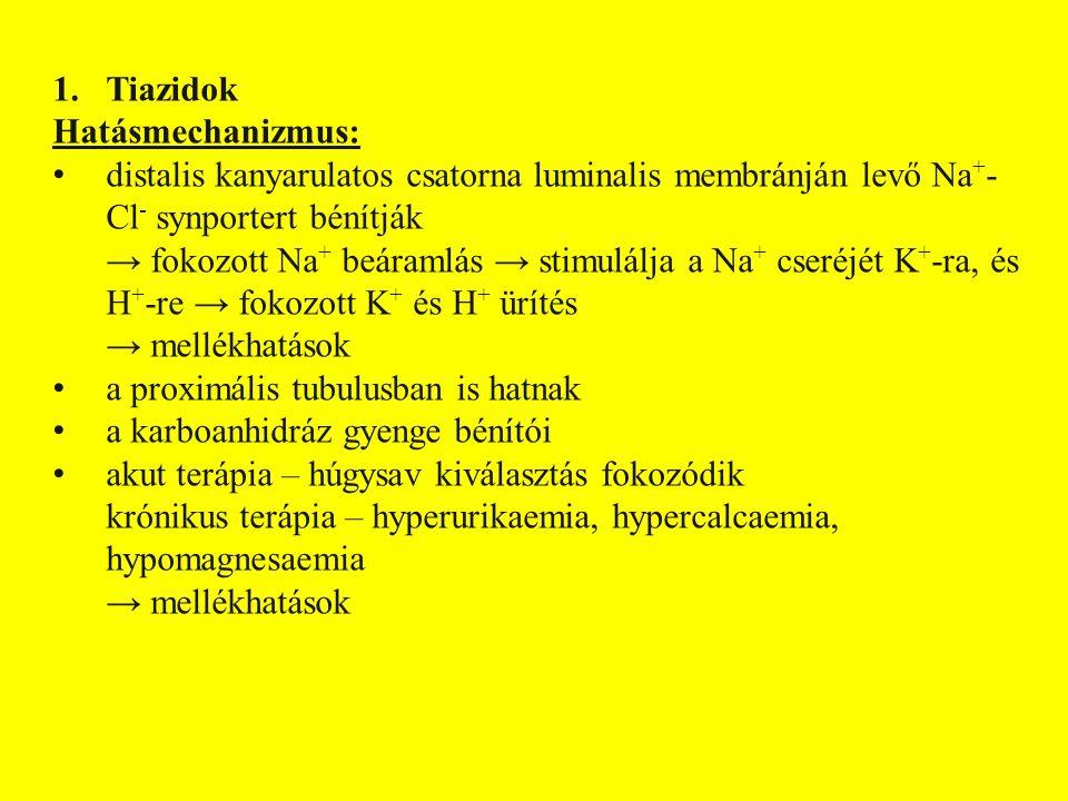 1.Tiazidok Hatásmechanizmus: distalis kanyarulatos csatorna luminalis membránján levő Na + - Cl - synportert bénítják → fokozott Na + beáramlás → stimulálja a Na + cseréjét K + -ra, és H + -re → fokozott K + és H + ürítés → mellékhatások a proximális tubulusban is hatnak a karboanhidráz gyenge bénítói akut terápia – húgysav kiválasztás fokozódik krónikus terápia – hyperurikaemia, hypercalcaemia, hypomagnesaemia → mellékhatások