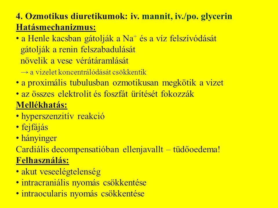 4.Ozmotikus diuretikumok: iv. mannit, iv./po.