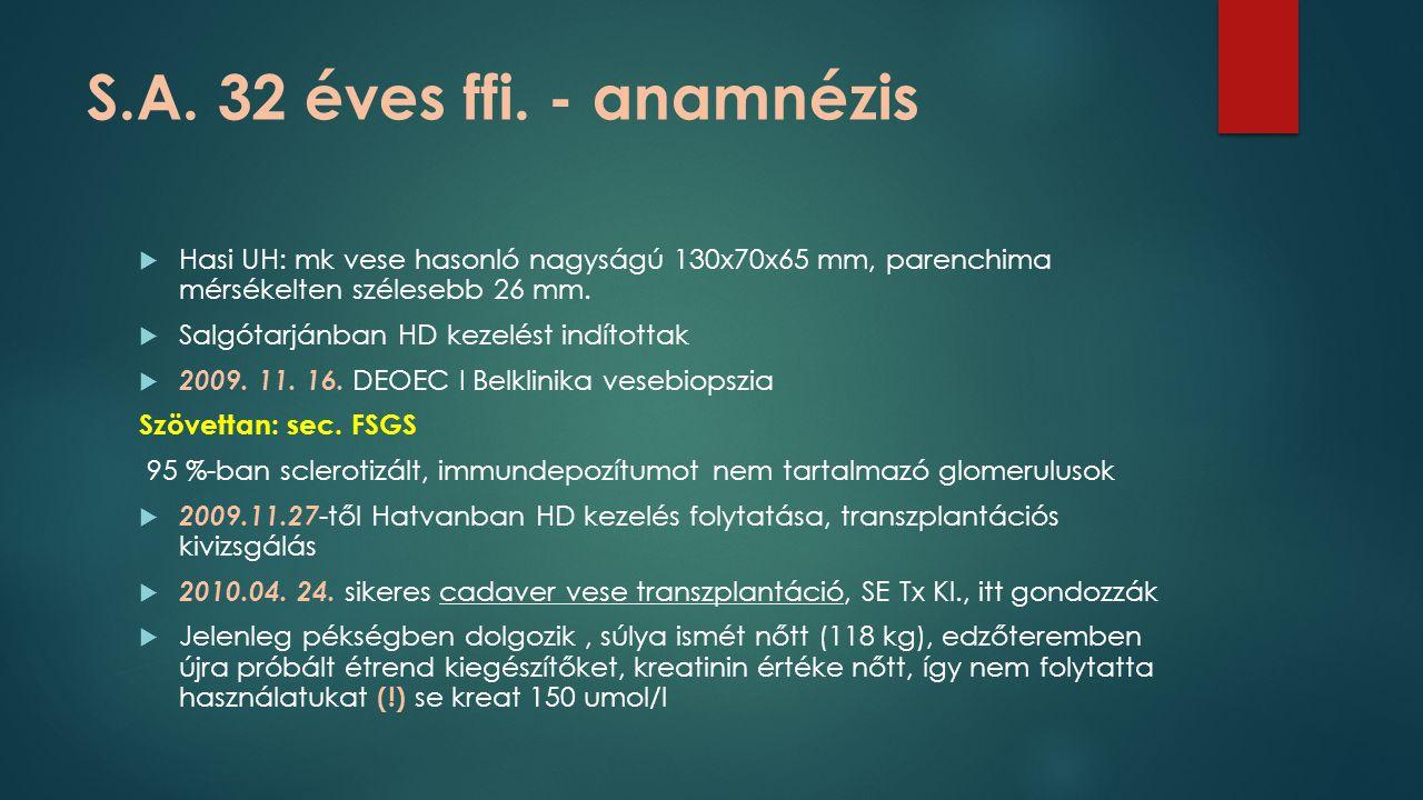 S.A. 32 éves ffi. - anamnézis  Hasi UH: mk vese hasonló nagyságú 130x70x65 mm, parenchima mérsékelten szélesebb 26 mm.  Salgótarjánban HD kezelést i