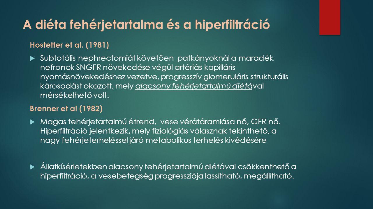 A diéta fehérjetartalma és a hiperfiltráció Hostetter et al. (1981)  Subtotális nephrectomiát követően patkányoknál a maradék nefronok SNGFR növekedé