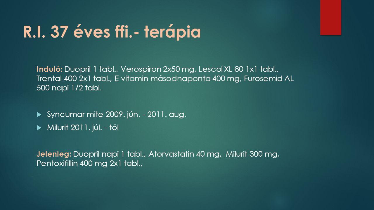 R.I. 37 éves ffi.- terápia Induló: Duopril 1 tabl., Verospiron 2x50 mg, Lescol XL 80 1x1 tabl., Trental 400 2x1 tabl., E vitamin másodnaponta 400 mg,