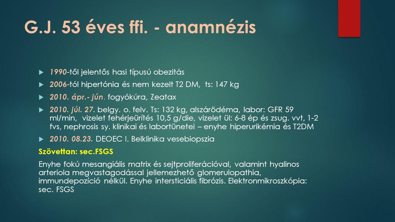 G.J. 53 éves ffi. - anamnézis  1990 -től jelentős hasi típusú obezitás  2006 -tól hipertónia és nem kezelt T2 DM, ts: 147 kg  2010. ápr.- jún. fogy