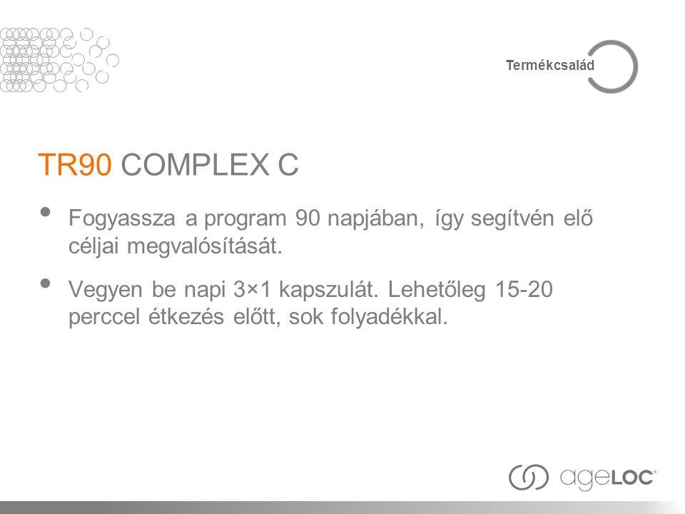 TR90 COMPLEX C Fogyassza a program 90 napjában, így segítvén elő céljai megvalósítását. Vegyen be napi 3×1 kapszulát. Lehetőleg 15-20 perccel étkezés