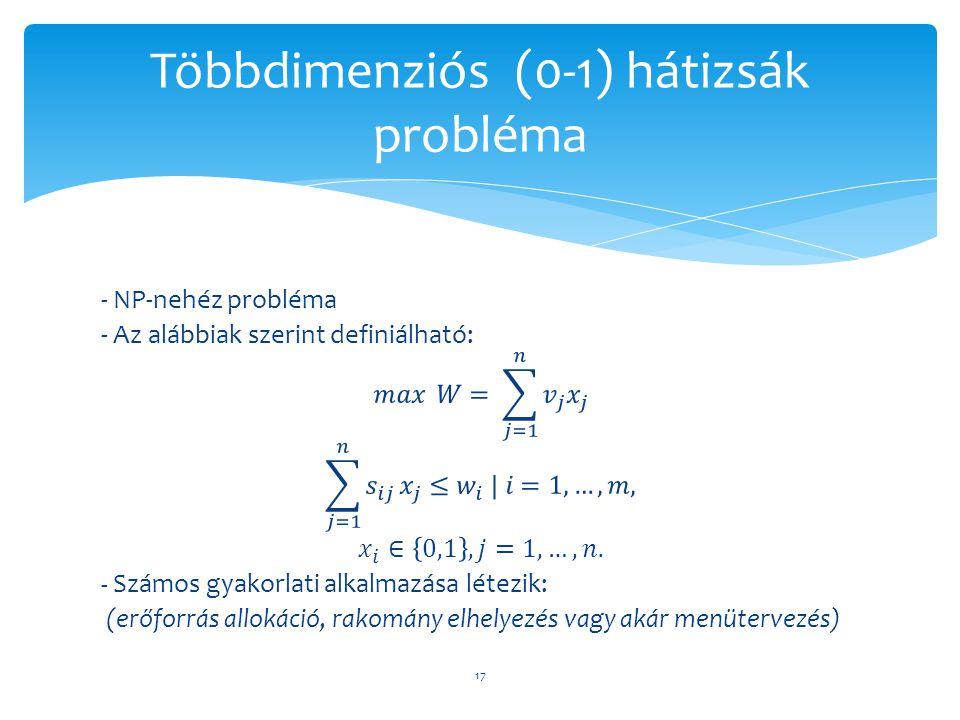 Többdimenziós (0-1) hátizsák probléma 17