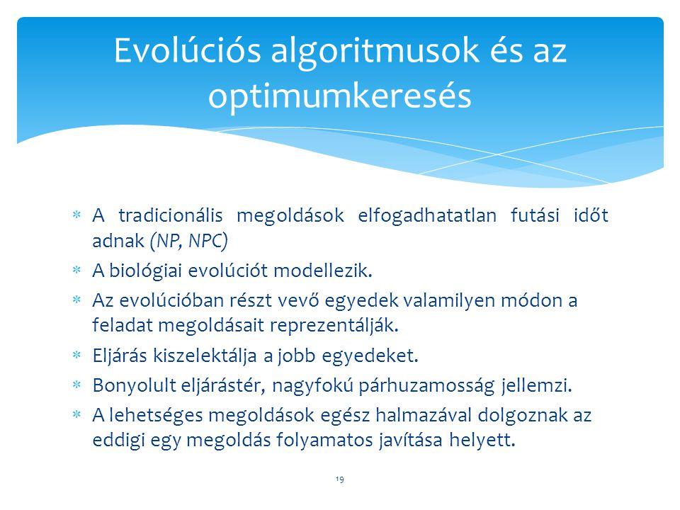  A tradicionális megoldások elfogadhatatlan futási időt adnak (NP, NPC)  A biológiai evolúciót modellezik.  Az evolúcióban részt vevő egyedek valam