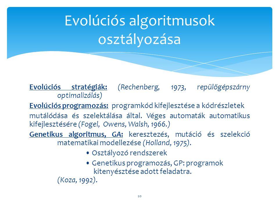 Evolúciós stratégiák: (Rechenberg, 1973, repülőgépszárny optimalizálás) Evolúciós programozás: programkód kifejlesztése a kódrészletek mutálódása és s