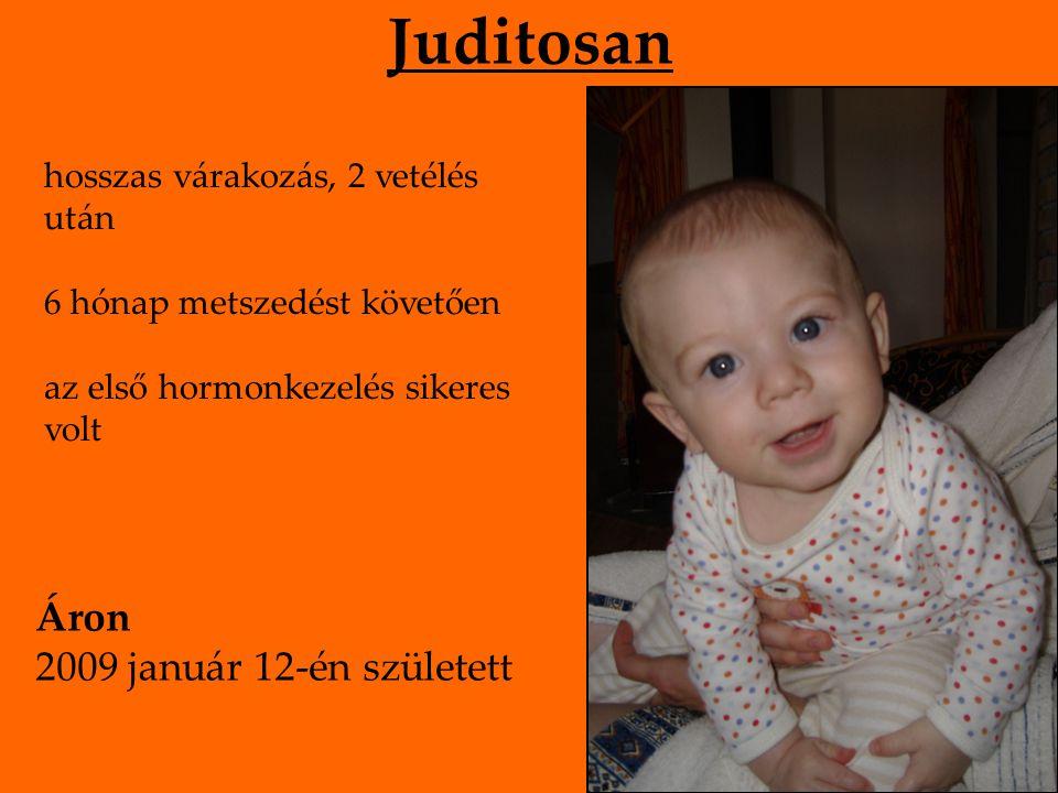 Juditosan hosszas várakozás, 2 vetélés után 6 hónap metszedést követően az első hormonkezelés sikeres volt Áron 2009 január 12-én született