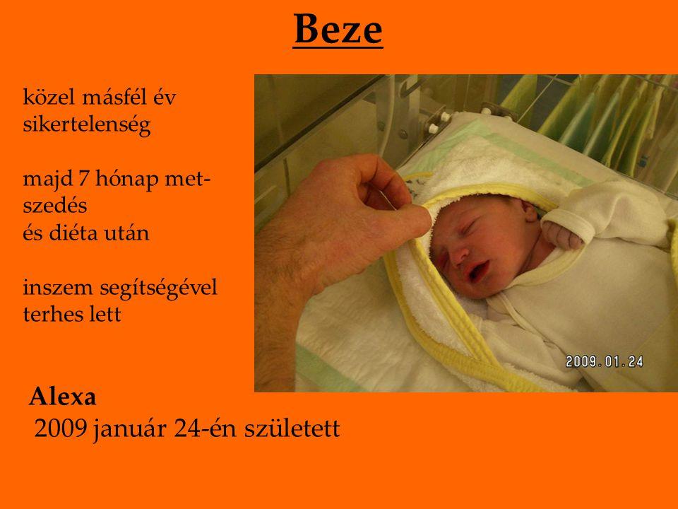 Beze közel másfél év sikertelenség majd 7 hónap met- szedés és diéta után inszem segítségével terhes lett Alexa 2009 január 24-én született