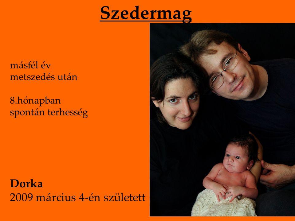 Szedermag másfél év metszedés után 8.hónapban spontán terhesség Dorka 2009 március 4-én született