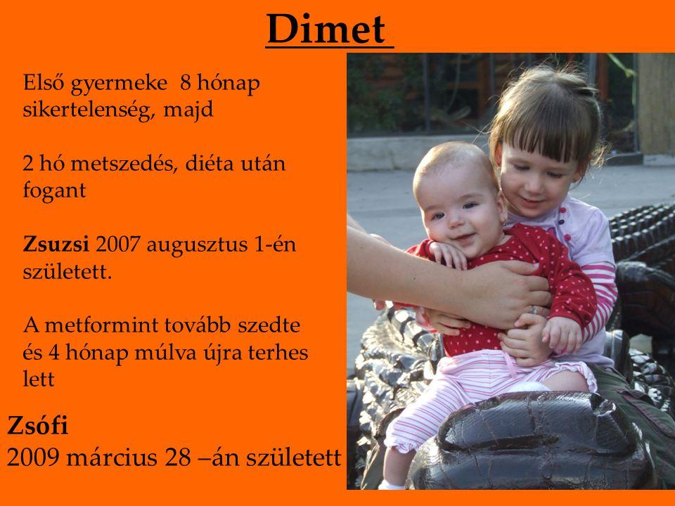 Dimet Első gyermeke 8 hónap sikertelenség, majd 2 hó metszedés, diéta után fogant Zsuzsi 2007 augusztus 1-én született. A metformint tovább szedte és