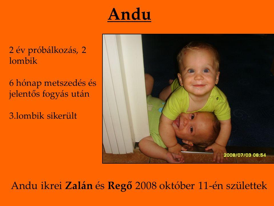 Dimet Első gyermeke 8 hónap sikertelenség, majd 2 hó metszedés, diéta után fogant Zsuzsi 2007 augusztus 1-én született.