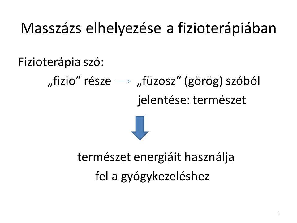 """Masszázs elhelyezése a fizioterápiában Fizioterápia szó: """"fizio része""""füzosz (görög) szóból jelentése: természet természet energiáit használja fel a gyógykezeléshez 1"""