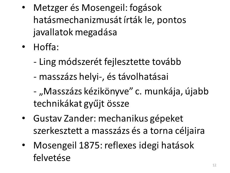 """Metzger és Mosengeil: fogások hatásmechanizmusát írták le, pontos javallatok megadása Hoffa: - Ling módszerét fejlesztette tovább - masszázs helyi-, és távolhatásai - """"Masszázs kézikönyve c."""