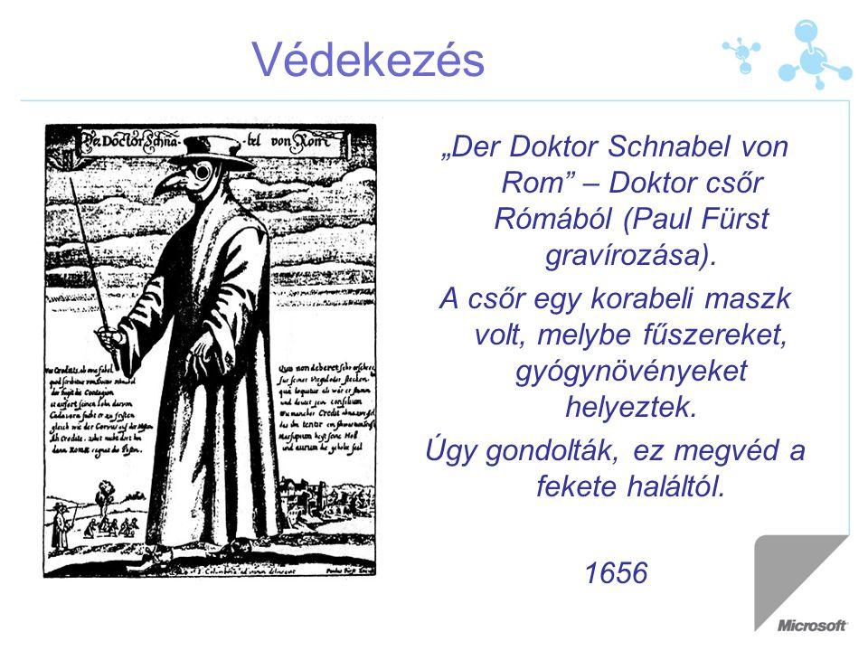 """Védekezés """"Der Doktor Schnabel von Rom"""" – Doktor csőr Rómából (Paul Fürst gravírozása). A csőr egy korabeli maszk volt, melybe fűszereket, gyógynövény"""
