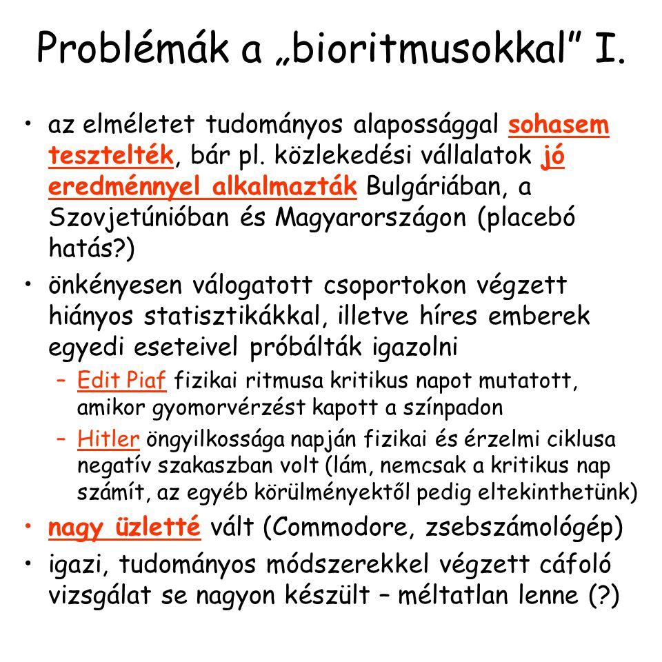 """Problémák a """"bioritmusokkal"""" I. az elméletet tudományos alapossággal sohasem tesztelték, bár pl. közlekedési vállalatok jó eredménnyel alkalmazták Bul"""