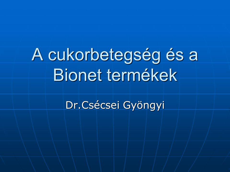 A cukorbetegség és a Bionet termékek Dr.Csécsei Gyöngyi