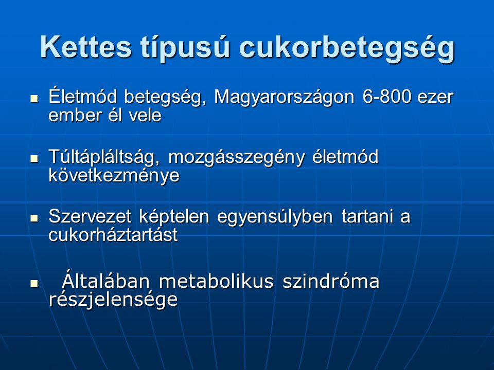 Kettes típusú cukorbetegség Életmód betegség, Magyarországon 6-800 ezer ember él vele Életmód betegség, Magyarországon 6-800 ezer ember él vele Túltápláltság, mozgásszegény életmód következménye Túltápláltság, mozgásszegény életmód következménye Szervezet képtelen egyensúlyben tartani a cukorháztartást Szervezet képtelen egyensúlyben tartani a cukorháztartást Általában metabolikus szindróma részjelensége Általában metabolikus szindróma részjelensége