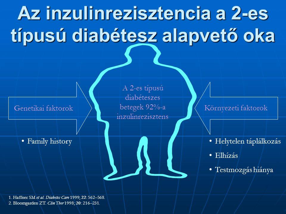 1. Haffner SM et al. Diabetes Care 1999; 22: 562–568. 2. Bloomgarden ZT. Clin Ther 1998; 20: 216–231. A 2-es típusú diabéteszes betegek 92%-a inzulinr