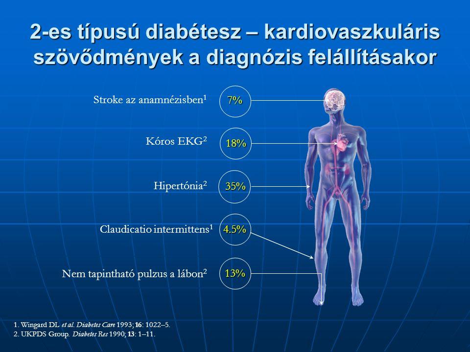 1. Wingard DL et al. Diabetes Care 1993; 16: 1022–5. 2. UKPDS Group. Diabetes Res 1990; 13: 1–11. 2-es típusú diabétesz – kardiovaszkuláris szövődmény