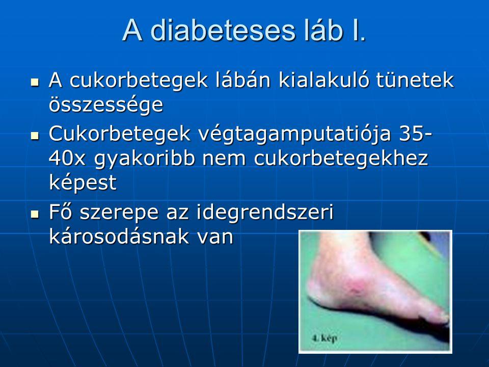 A diabeteses láb I. A cukorbetegek lábán kialakuló tünetek összessége A cukorbetegek lábán kialakuló tünetek összessége Cukorbetegek végtagamputatiója