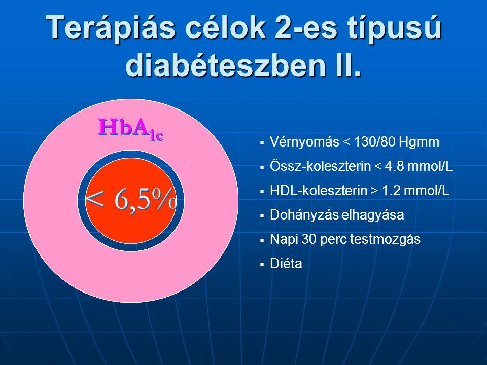 Terápiás célok 2-es típusú diabéteszben II. < 7% HbA 1c < 7% HbA 1c < 7% HbA 1c < 7% HbA 1c  Vérnyomás < 130/80 Hgmm  Össz-koleszterin < 4.8 mmol/L