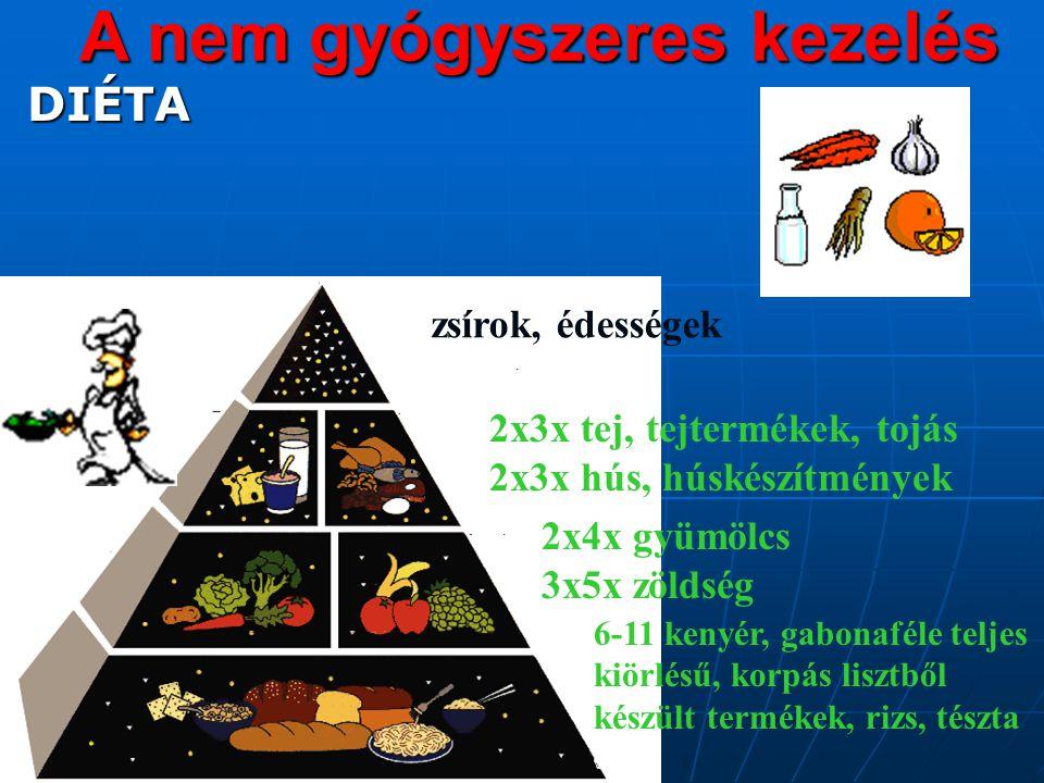 A nem gyógyszeres kezelés DIÉTA DIÉTA 6-11 kenyér, gabonaféle teljes kiörlésű, korpás lisztből készült termékek, rizs, tészta 2x4x gyümölcs 3x5x zöldség 2x3x tej, tejtermékek, tojás 2x3x hús, húskészítmények zsírok, édességek