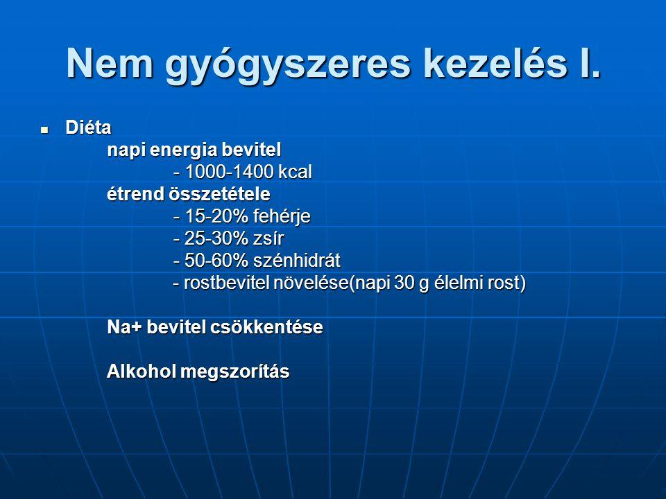 Nem gyógyszeres kezelés I. Diéta Diéta napi energia bevitel - 1000-1400 kcal étrend összetétele - 15-20% fehérje - 25-30% zsír - 50-60% szénhidrát - r