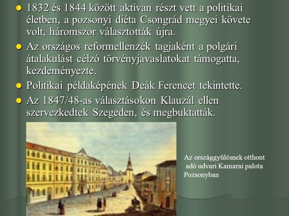 1832 és 1844 között aktívan részt vett a politikai életben, a pozsonyi diéta Csongrád megyei követe volt, háromszor választották újra. 1832 és 1844 kö